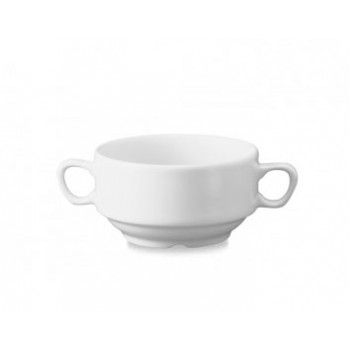 Churchill White Consomme Bowls Handled