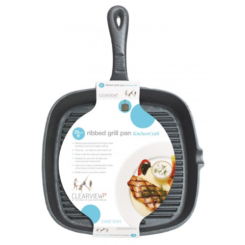 Kitchen Craft Cast Iron Ribbed Skillet Pan