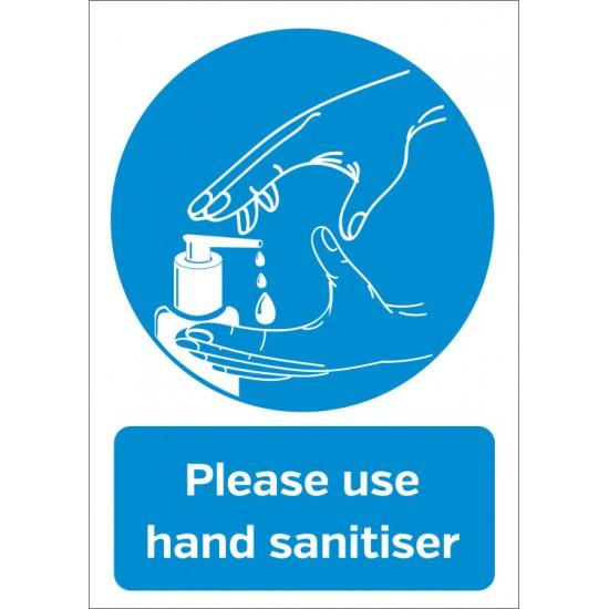 Hygiene Sticker Please use Hand Sanitiser A4