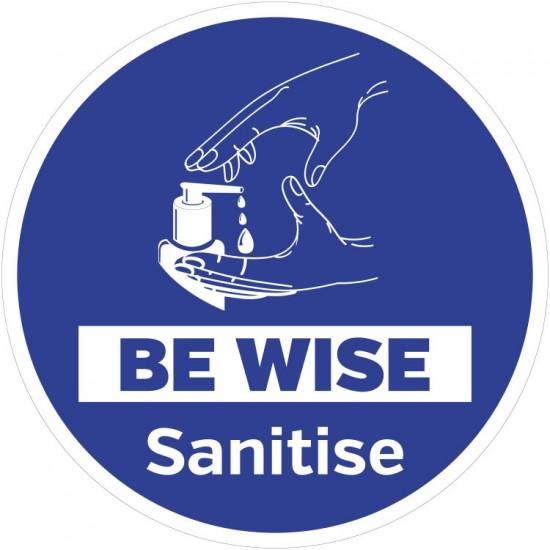 Hygiene Sticker Be Wise Sanitise