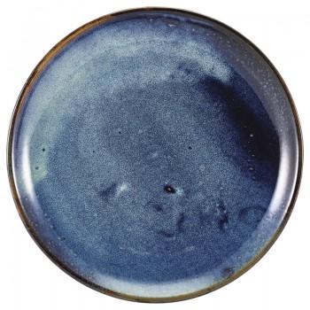 Aqua Blue Terra Porcelain Coupe Plates