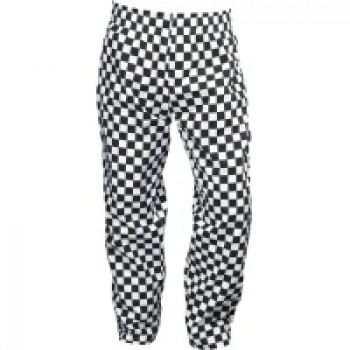 Black & White Large Check Chef Baggie Trousers